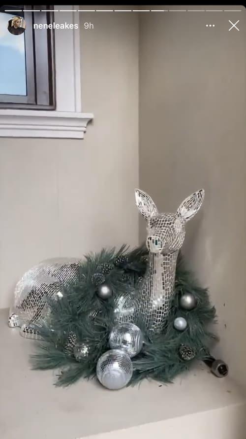 RHOA Nene Leakes Shows Off Deer Christmas Decoration