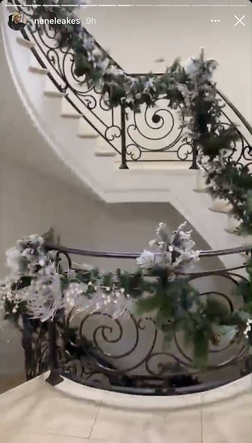 RHOA Nene Leakes Stairwell is Decorated for Christmas