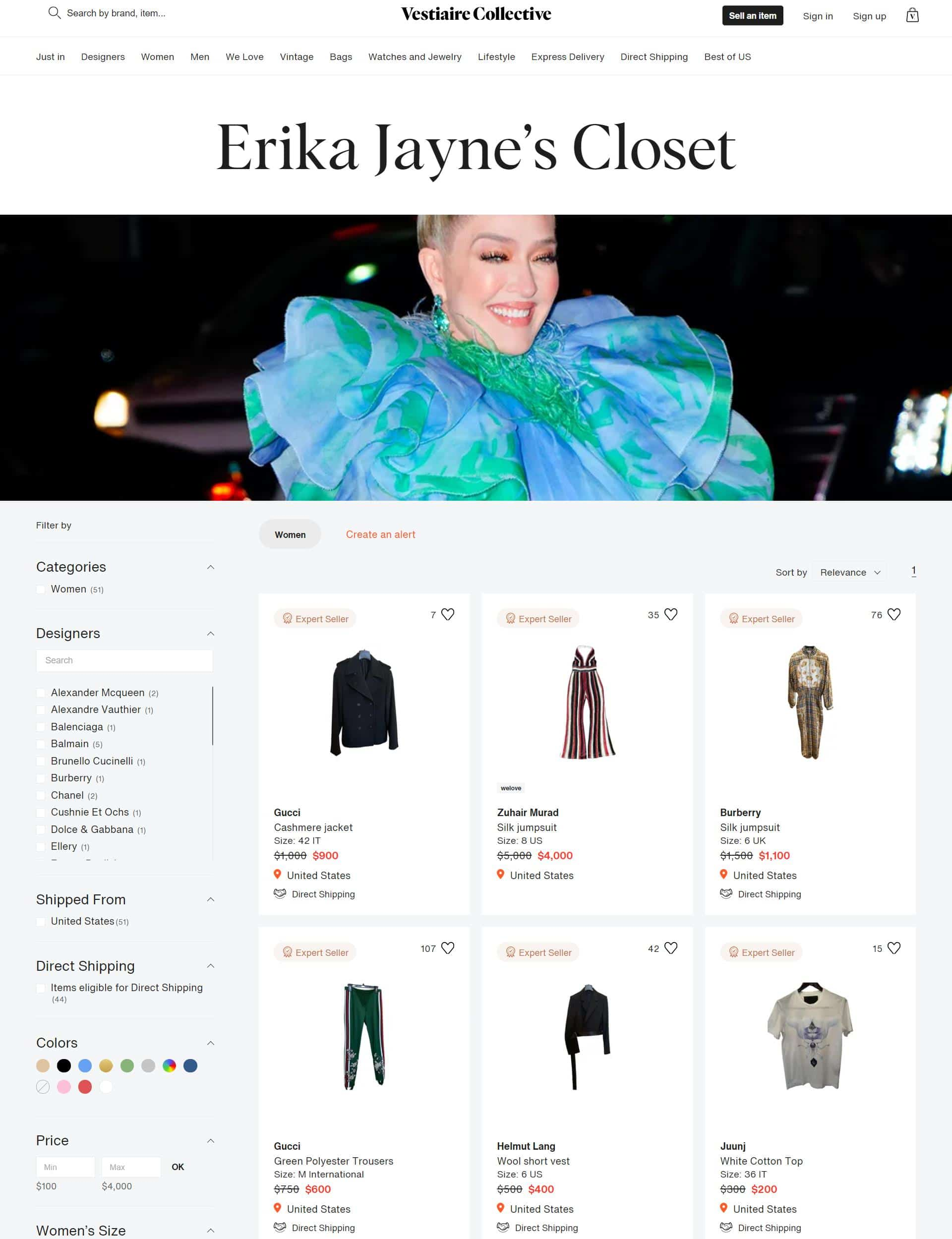 A screenshot of RHOBH star Erika Jayne selling her designer clothing online