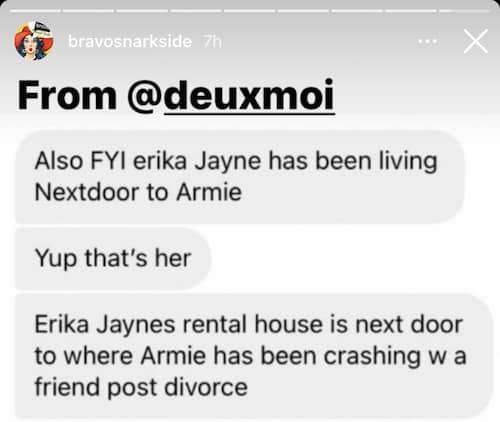 RHOBH Erika Jayne Living Next Door to Armie Hammer