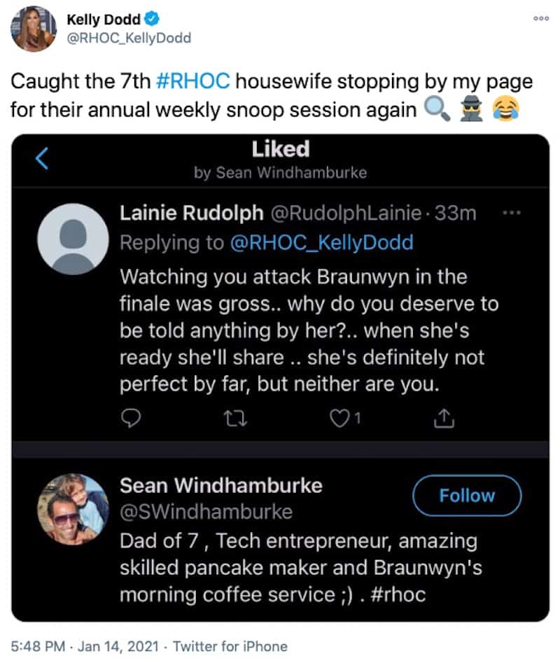 RHOC Kelly Dodd Slams Sean Burke for Snooping on Her Twitter Page