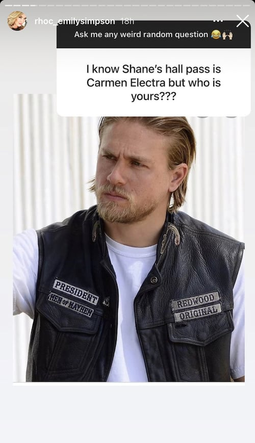 RHOC Emily Simpson Shares Hall Pass is Charlie Hunnam