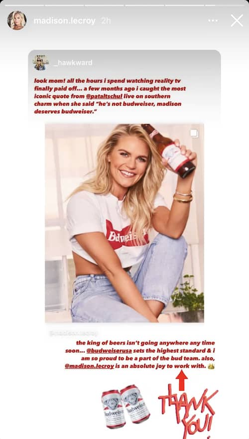 Southern Charm Madison LeCroy Poses in Budweiser T-Shirt
