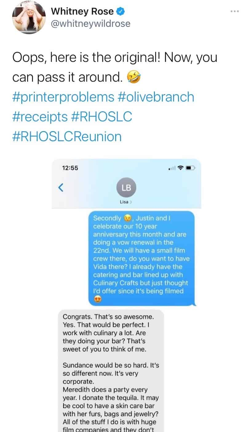 RHOSLC Whitney Rose Leaks Text Messages From Lisa Barlow