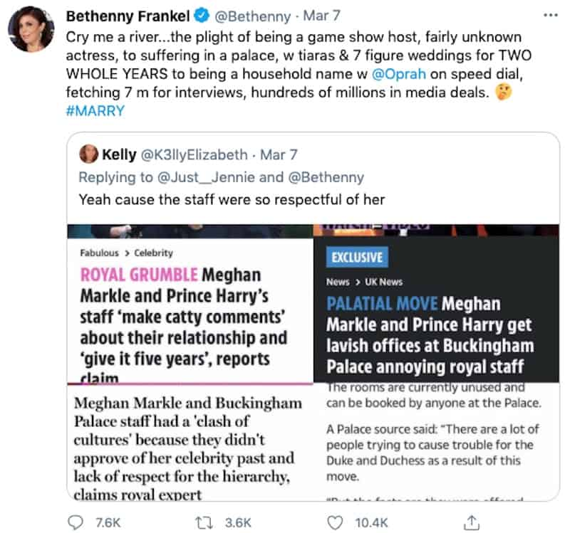 RHONY Bethenny Frankel Pokes Fun at Meghan Markle's Cries After Oprah Interview