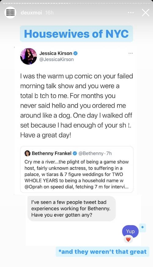 RHONY Bethenny Frankel's Talk Show Comic Calls Her Out on Twitter