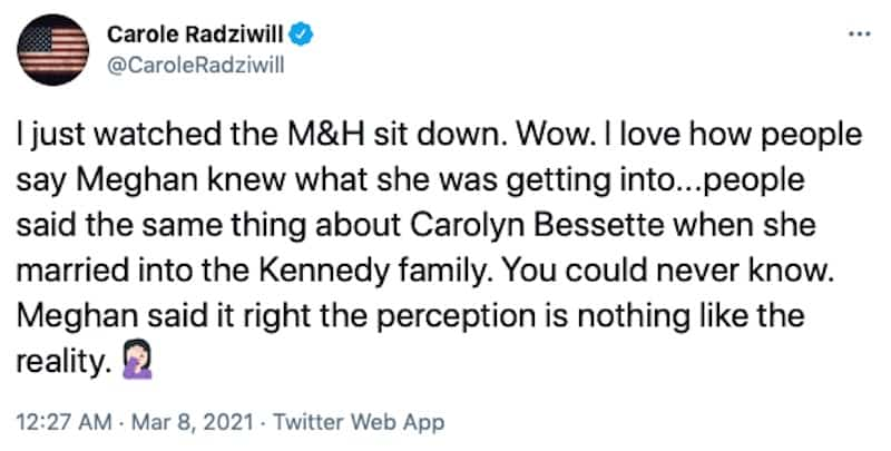 RHONY Carole Radziwill Reacts to Meghan Markle's Tell-All With Oprah