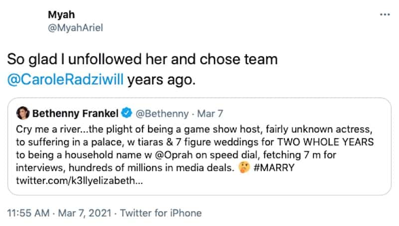 RHONY Carole Radziwill Responds to Fan Who Unfollows Bethenny Frankel Over Meghan Markle Tweet