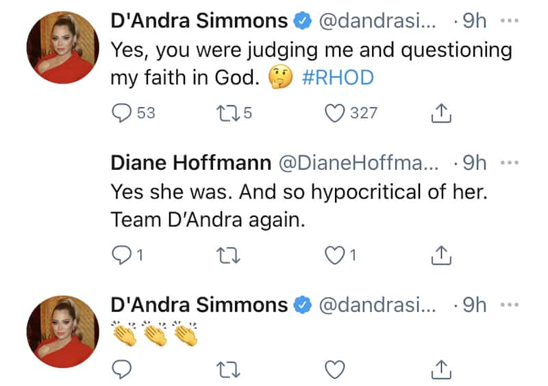 RHOD D'Andra Simmons Calls Out Brandi Redmond for Judging Her Faith