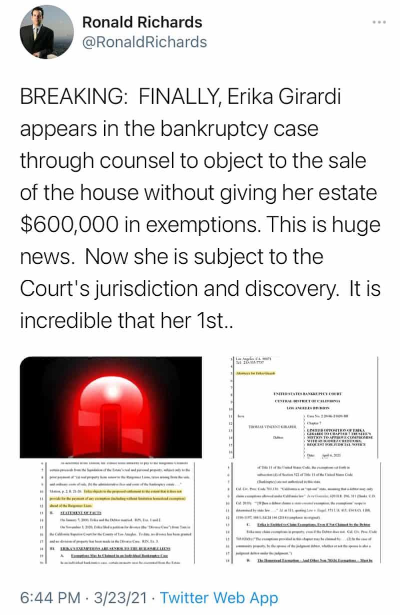 RHOBH Erika Jayne Appears in Court Amid Bankruptcy Proceedings
