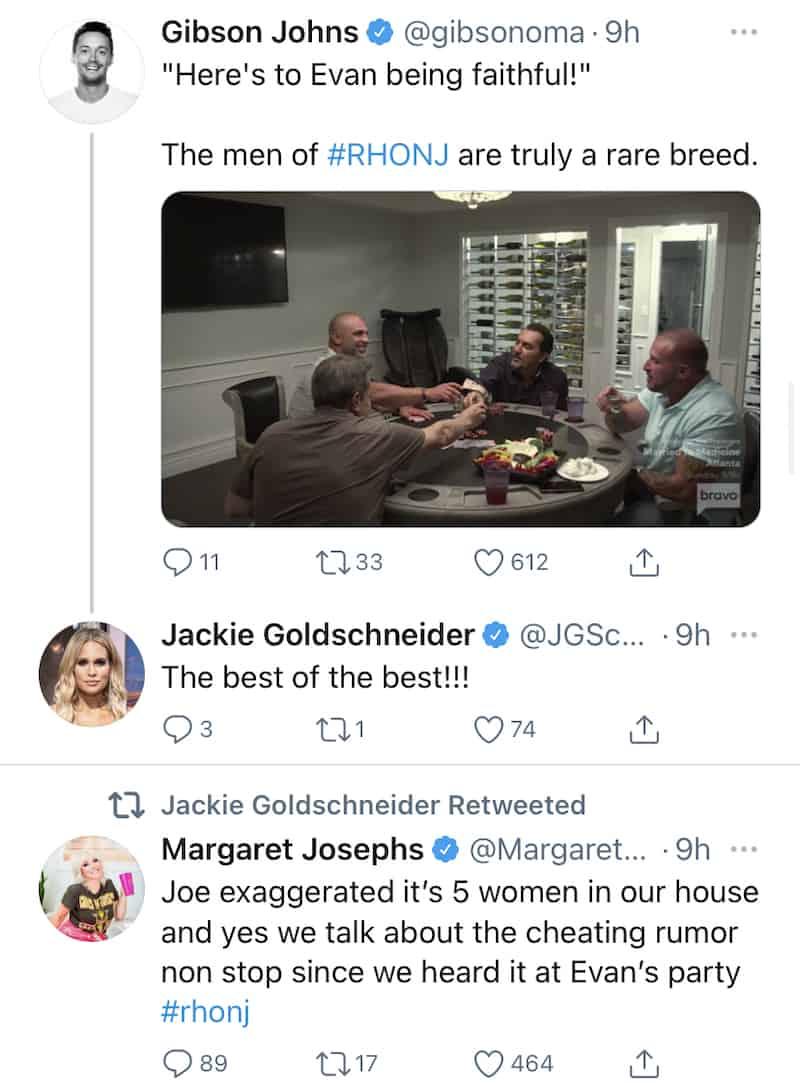 Jackie Goldschneider Reacts to Men's Conversation on RHONJ
