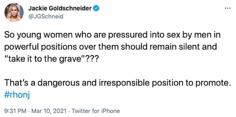 RHONJ Jackie Goldschneider Slams Jennifer Aydin for Encouraging Silence From Sex Abuse Victims
