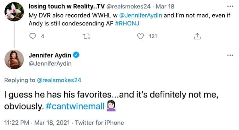 Jennifer Aydin Slams Andy Cohen for Having Favorites on RHONJ Cast