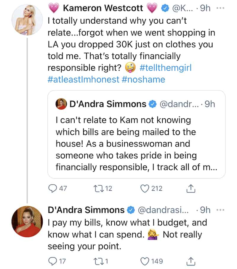 RHOD Kameron Westcott Suggests D'Andra Simmons Isn't Financially Resposible