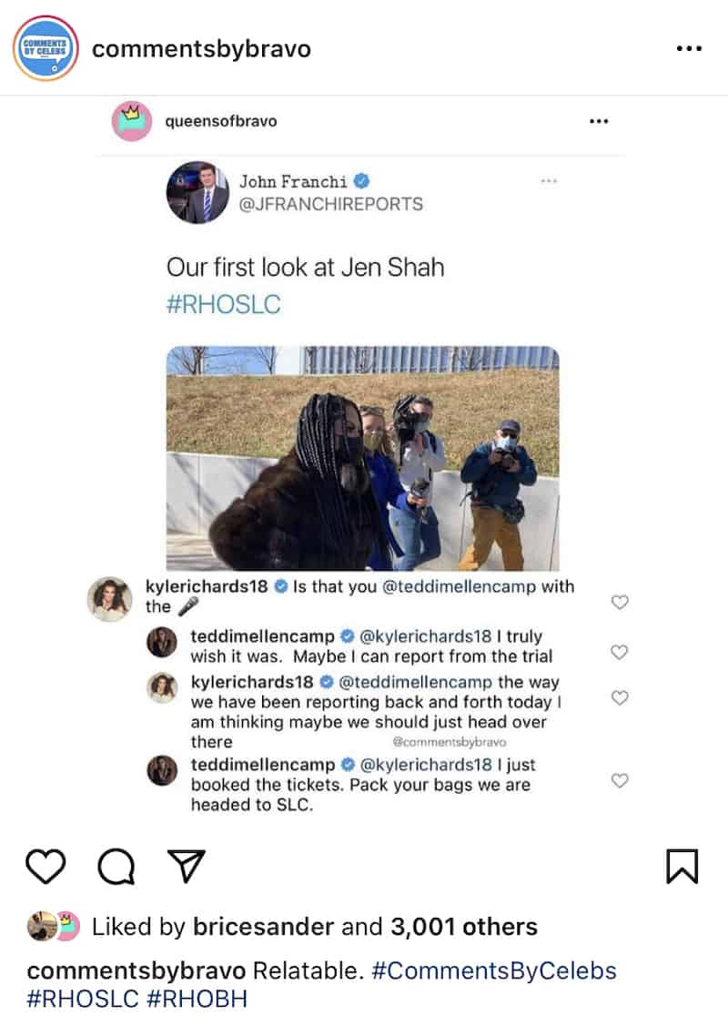 RHOBH Kyle Richards Comments on Instagram Post on Jen Shah Courthouse Look