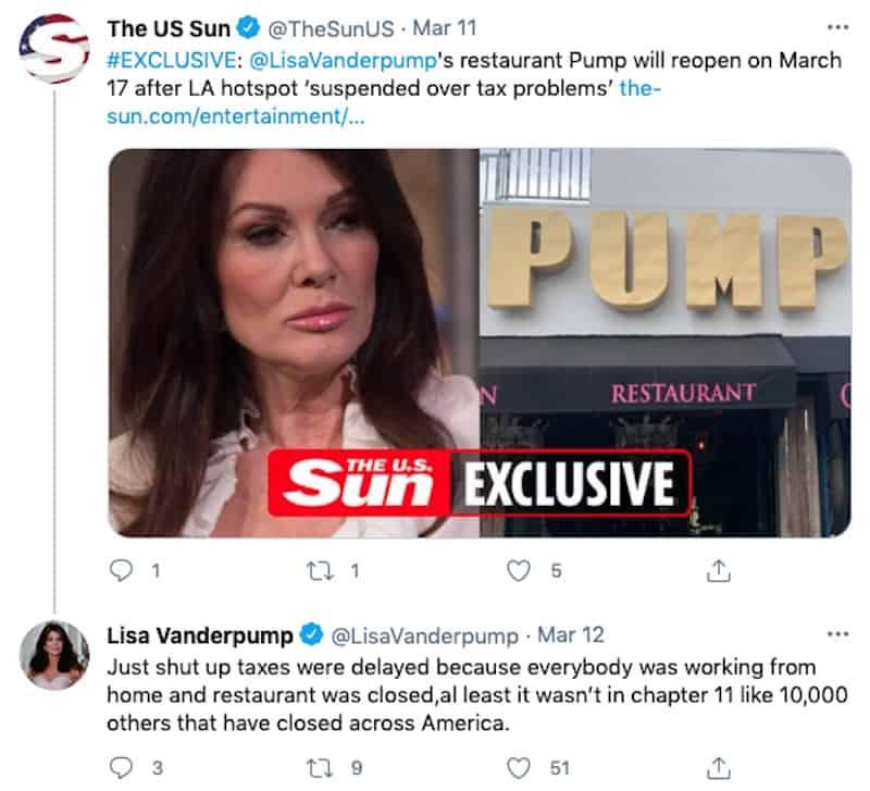RHOBH Lisa Vanderpump Explains PUMP Tax Dispute