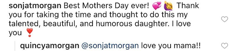 RHONY Sonja Morgan Responds to Daughter Quincy's Mother's Day Post