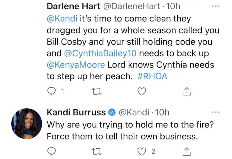 RHOA Kandi Burruss Responds to Fan's Demand That She Have Kenya Moore's Back