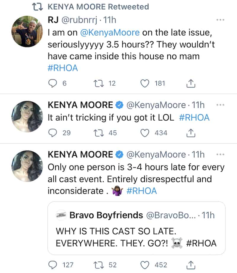 RHOA Kenya Moore reacts to Drew Sidora being late with Porsha Williams
