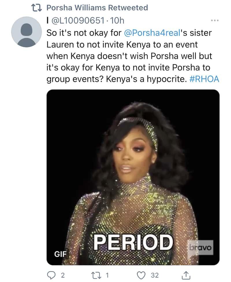 RHOA Porsha Williams Shades Kenya Moore as a Hypocrite