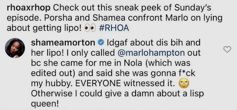 RHOA Shamea Morton Calls Out Marlo Hampton for Saying She Was Going to Sleep With Her Husband