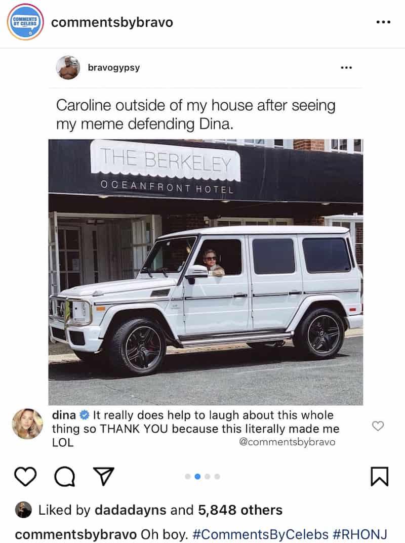 RHONJ Dina Manzo Laughs at Meme About Sister Caroline After Tommy's Jail Release