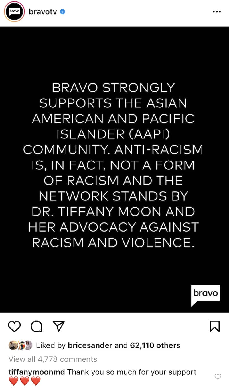 RHOD Dr. Tiffany Moon Thanks Bravo for Support