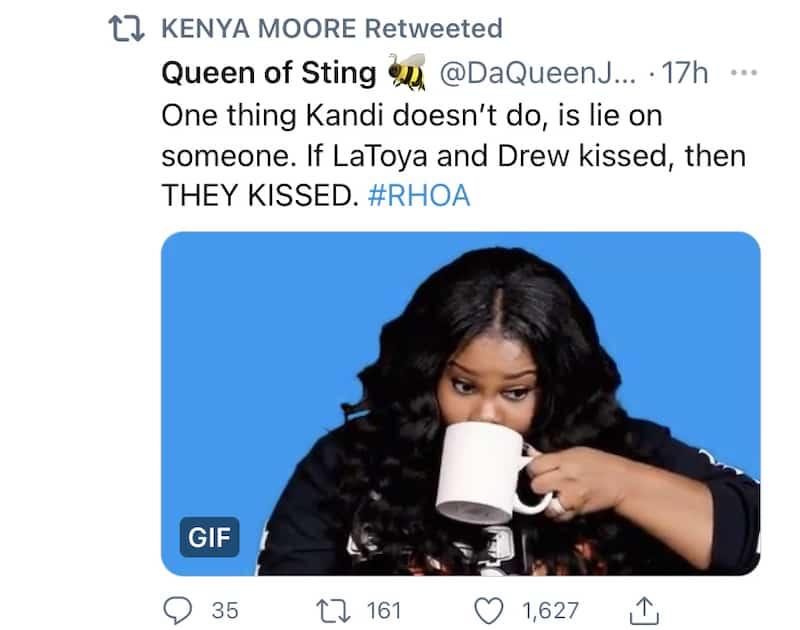 RHOA Kenya Moore Believes Drew Sidora and LaToya Ali Kissed