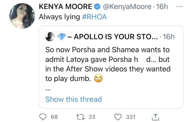 RHOA Kenya Moore Says Porsha Williams is Always Lying