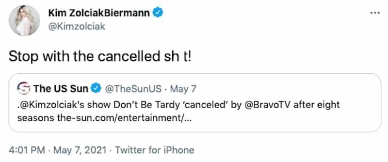 Don't Be Tardy's Kim Zolciak Denies Being Canceled