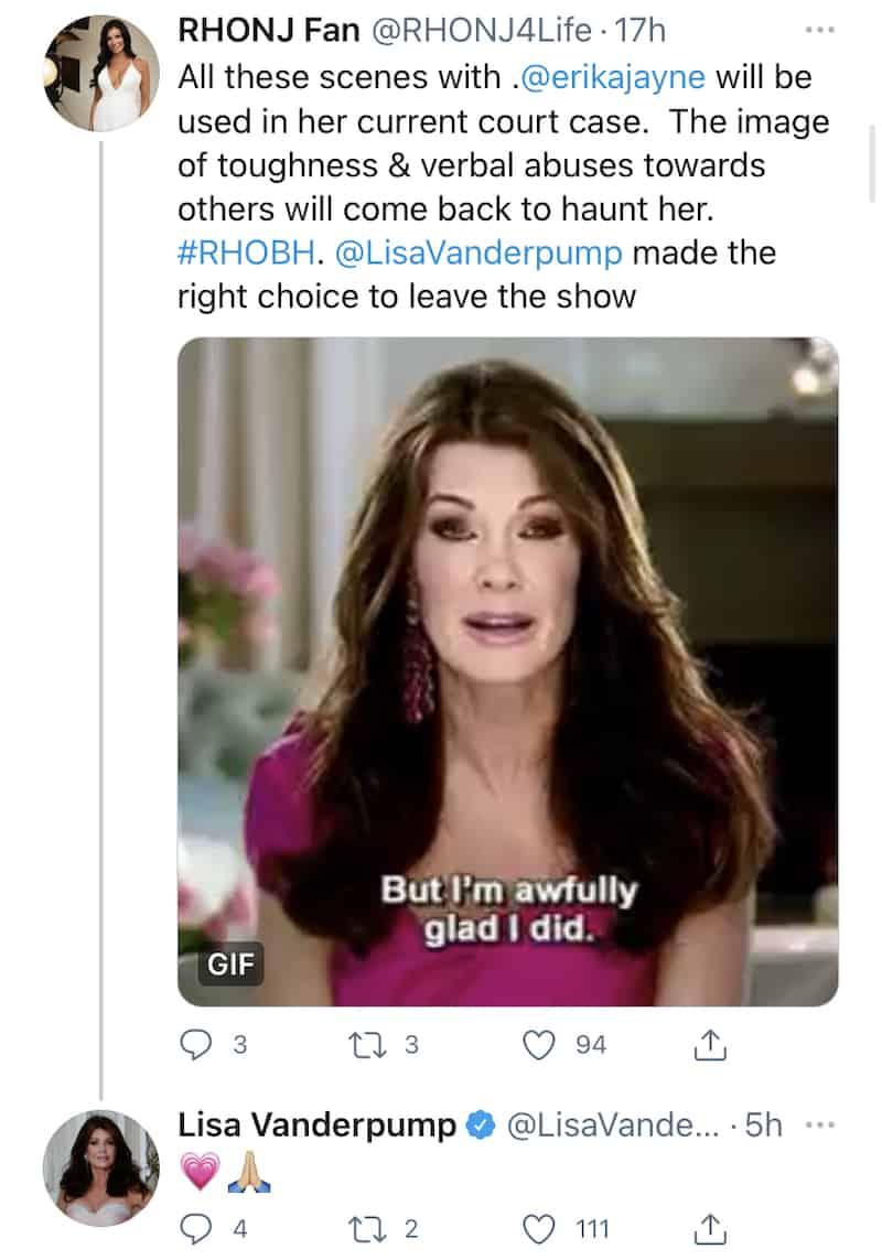 RHOBH Lisa Vanderpump Reacts After Fan Mentions Erika Jayne's Legal Drama