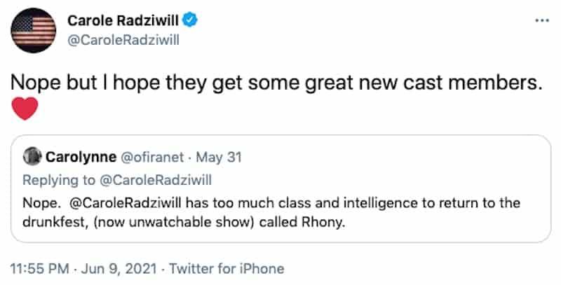 Carole Radziwill Hopes RHONY Gets New Cast Member