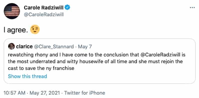 Carole Radziwill Responds to Calls for RHONY Return