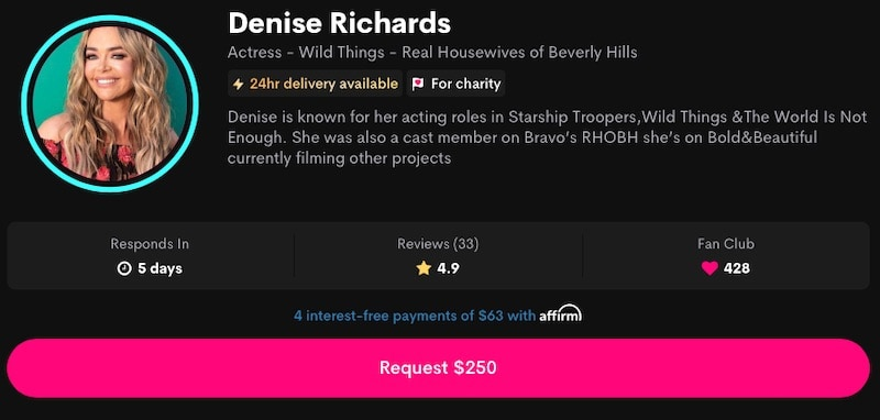 RHOBH Denise Richards Charges $250 for Cameo Videos
