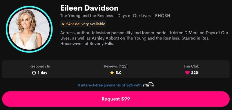 RHOBH Eileen Davidson Charges $99 for Cameo Videos