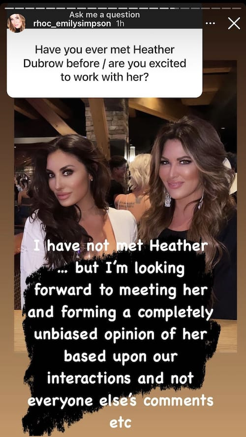Emily Simpson is Excited to Work With Heather Dubrow on RHOC