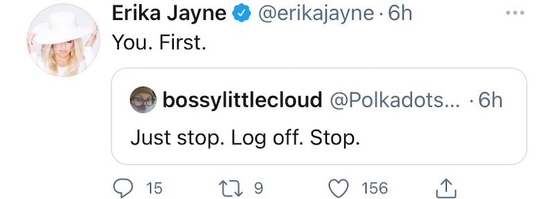 RHOBH Erika Jayne Claps Back at Fan Who Tells Her to Log Off Twitter