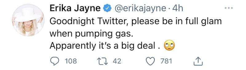 RHOBH Erika Jayne Jokes About Pumping Gas in a T-Shirt
