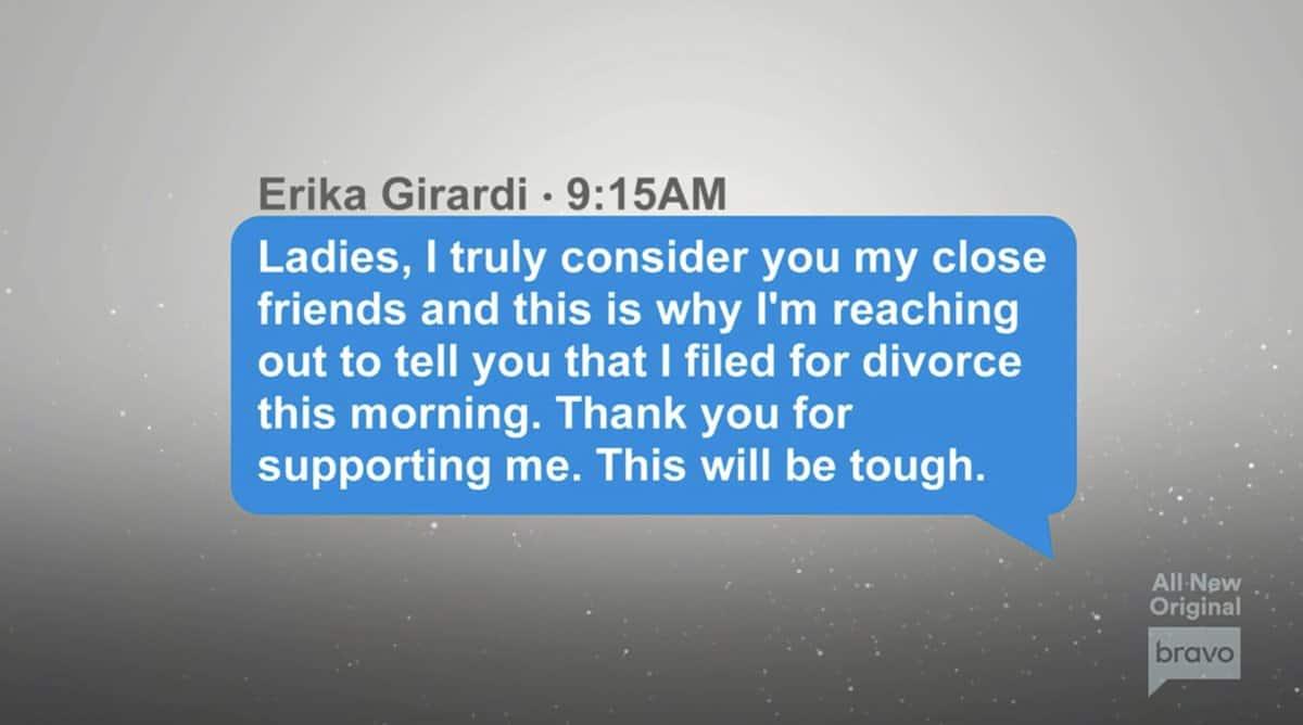 Erika Jayne sends RHOBH cast text message announcing divorce