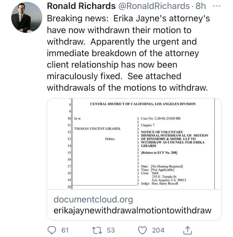 RHOBH Erika Jayne's Attorneys Withdraw Their Mortion to Withdraw Their Representation