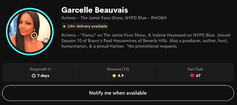 RHOBH Garcelle Beauvais Charges $125 for Cameo Videos