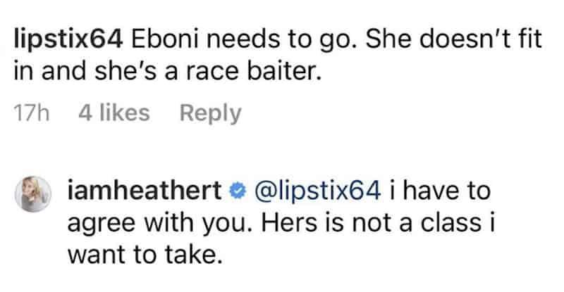 RHONY Heather Thomson Claims Eboni K. Williams is a Race Baiter