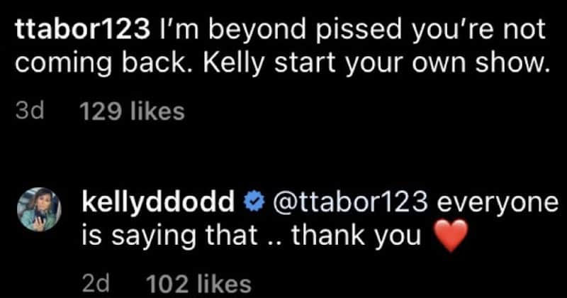 Kelly Dodd Reacts to Fan Saying She Should Do a New Show After RHOC