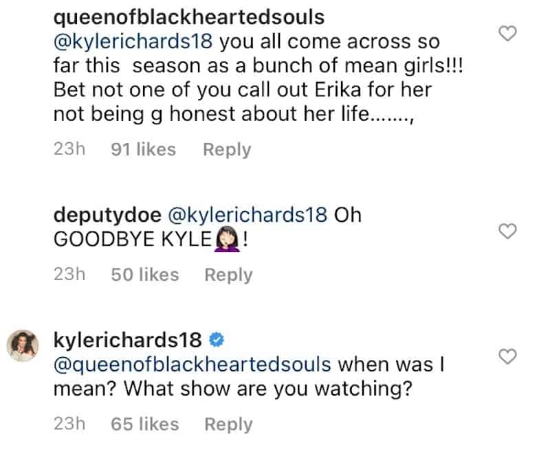 RHOBH Kyle Richards Defends Herself Against Mean Girl Claims