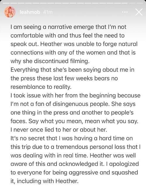 RHONY Leah McSweeney Calls Heather Thomson Disingenuous