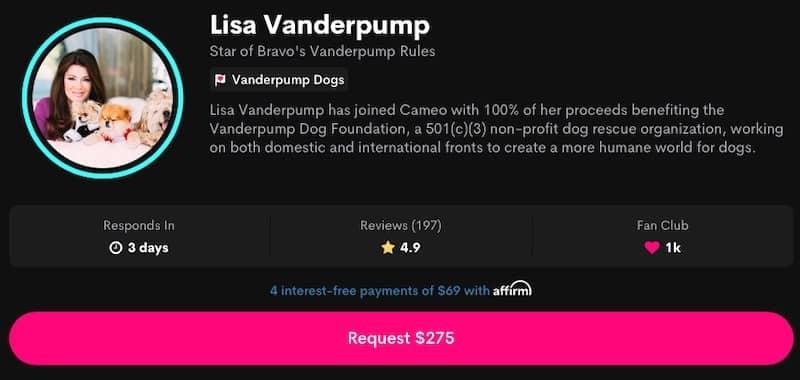 RHOBH Lisa Vanderpump Charges $275 for Cameo Videos