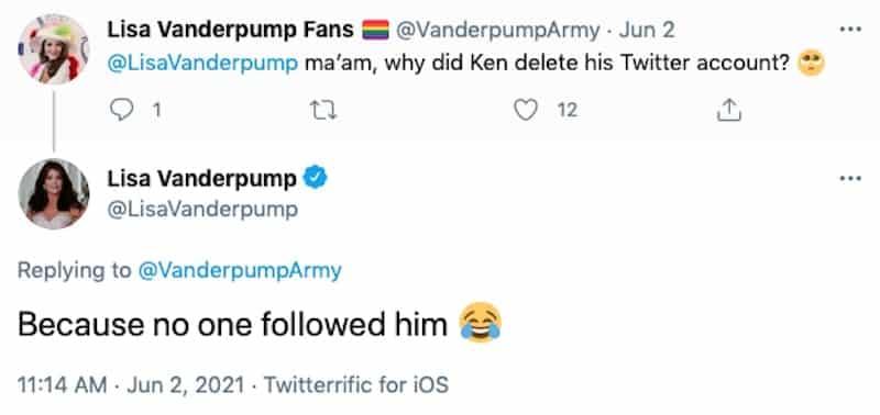 RHOBH Lisa Vanderpump Jokes Ken Todd Deleted Twitter Because No One Followed Him