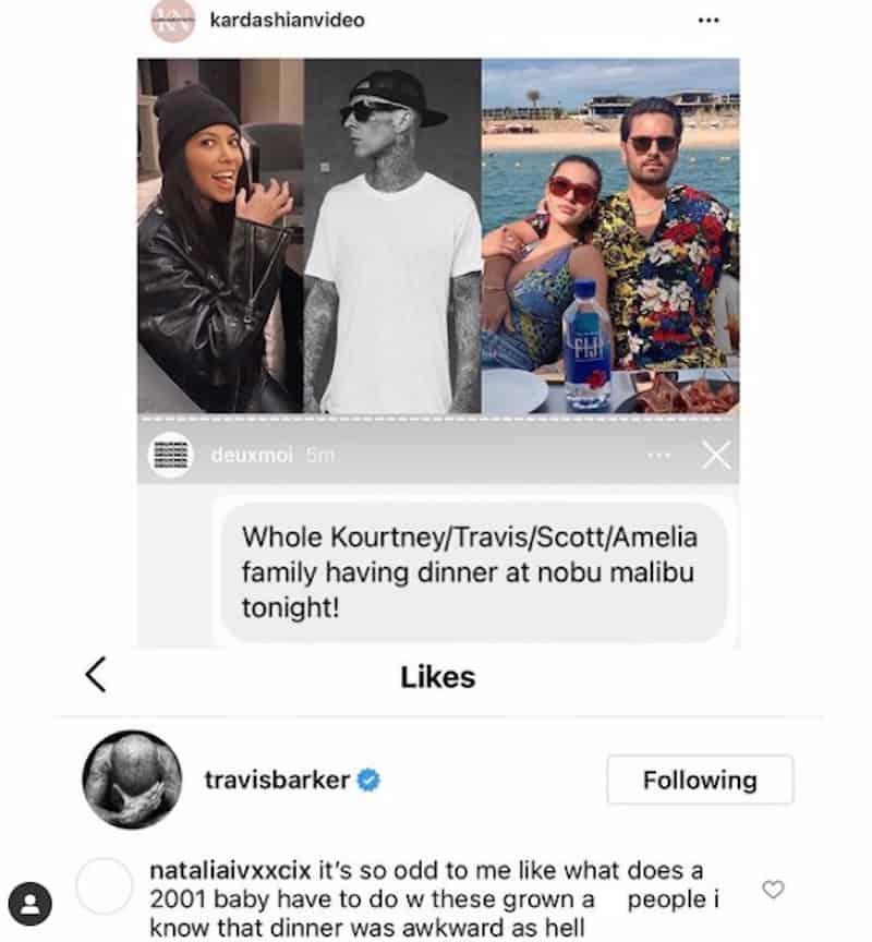 Travis Barker Likes Comment Shading Amelia Hamlin's Age