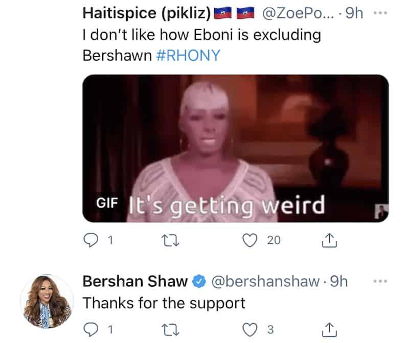RHONY Bershan Shaw Reacts to Eboni K. Williams Snub