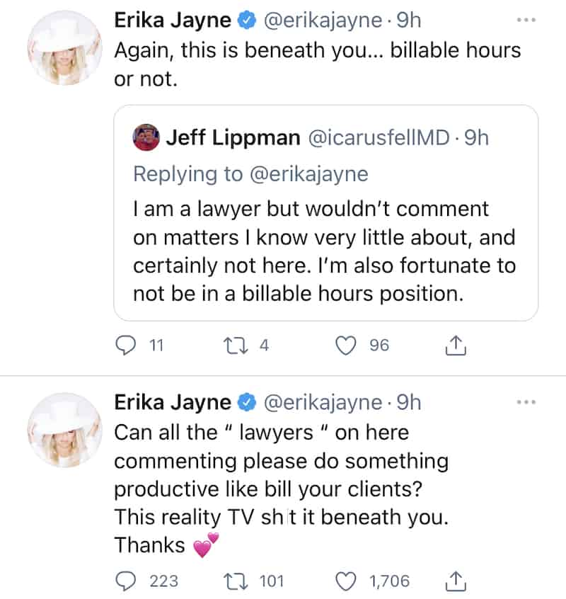 RHOBH Erika Jayne Calls Out Lawyers for Tweeting About Reality TV